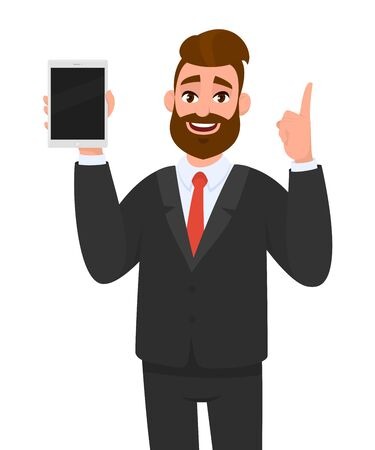 Young business man showingholding blank screen of new digital tablet computer and pointing index finger up. Modern technology, latest trends, digital gadget and device concept illustration in cartoon