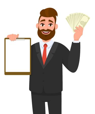 Young businessman showing blank clipboard and cash, money, currency notes. Person holding notepad. Male character design illustration. Human emotions, facial expressions concept in vector cartoon. Standard-Bild - 134458789