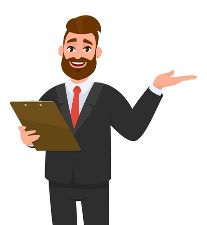 Young businessman wearing a suit holding clipboard and showing or presenting something hand to copy space side away. Person keeping the file pad in hand. Male character design illustration.