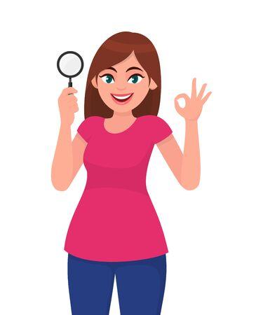 Junge Frau, die Lupe hält. Mädchen, das okay, OK-Gestenzeichen zeigt. Designillustration des weiblichen Charakters. Menschliche Emotionen, Gesichtsausdrücke, Gefühlskonzeptillustration in der Vektorkarikatur.