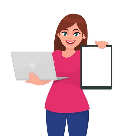 Trendy young woman holding laptop computer & blank clipboard. Stylish girl using digital device and showing white file, document or paper . Female character design illustration. Vector cartoon style.