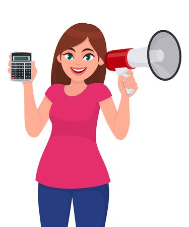 Young woman showing calculator. Trendy girl holding megaphone or loudspeaker in hand. Female character speaking or announcing news. Modern technology lifestyle illustration design in vector cartoon.