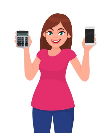 Young woman holding calculator and showing blank screen phone. Trendy girl presenting mobile, cell or smartphone. Female character design illustration. Modern lifestyle concept in vector cartoon. Ilustrace