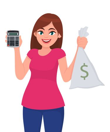 Young woman showing calculator. Trendy girl holding cash, money, currency notes bag with dollar symbol. Female character design illustration. Modern technology lifestyle concept in vector cartoon.