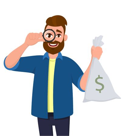 Hipster young man looking through magnifying glass or magnifier and holding cash, money bag with dollar sign. Bearded person seeing from loupe. Male character design illustration in vector cartoon.