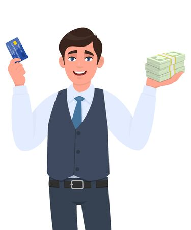 Young businessman showing credit card and cash, money, currency notes in hand. Successful person in vest suit holding debit, ATM card. Stylish male character design illustration in vector cartoon. Stock Illustratie