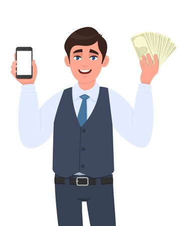 Young businessman in vest suit showing mobile, cell or smartphone and cash, money. Trendy person holding currency notes. Male character illustration. Modern technology lifestyle in vector cartoon.