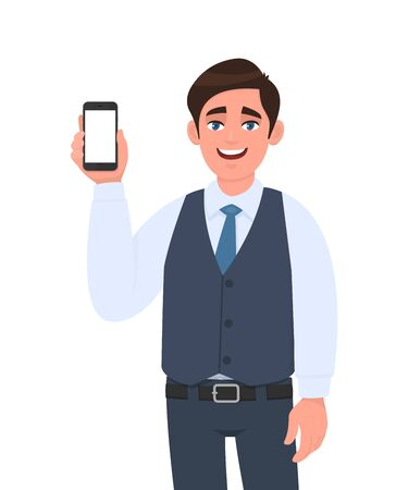 Young businessman showing a new smartphone. Trendy person holding latest branded mobile or cellphone. Male character design illustration. Modern digital technology, gadget concept in vector cartoon.
