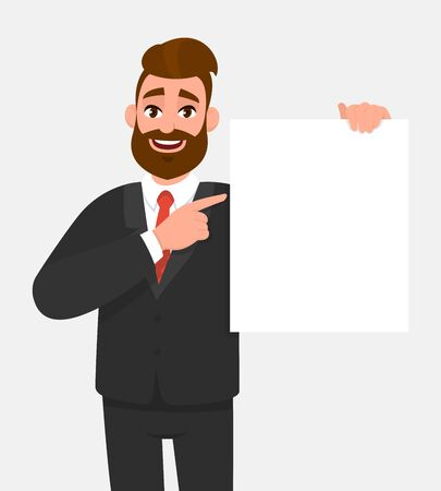 Trendy young business man showing blank white poster and pointing finger. Happy hipster person holding empty banner. Male presenting signboard or billboard. Cartoon illustration in vector style.