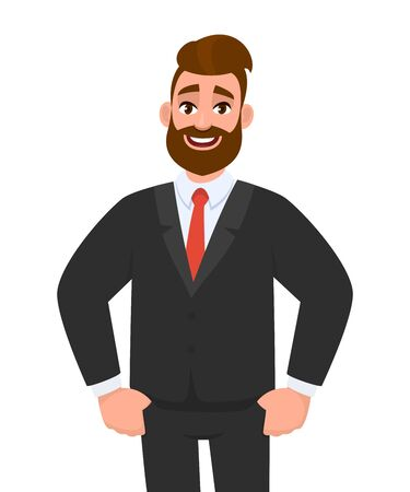 Trendy young bearded businessman standing and holding hands in pockets. Cheerful stylish person in black colour formal business suit. Male character illustration. Modern lifestyle in vector cartoon. Stock Illustratie