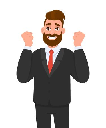 Excited hipster business man gesturing or showing raised hand fist. Trendy stylish person celebrating success with lifted arms. Male character expressing victory. Cartoon illustration in vector style.