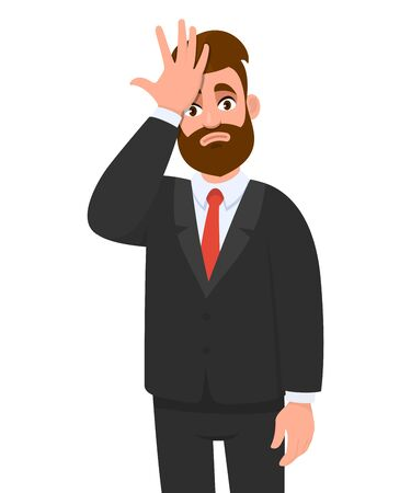 Unhappy young business man holding hand on forehead with frightened expression. Confused person with frowned face expression looking stressful having headache or pain. Vector cartoon illustration. Ilustración de vector