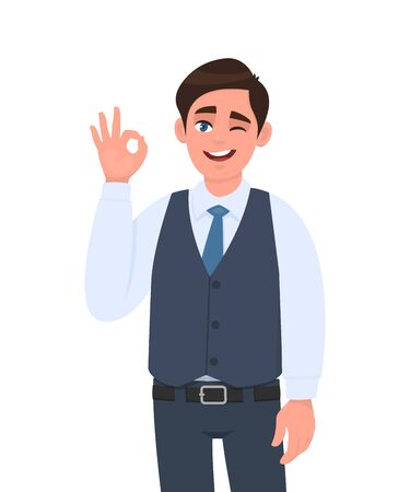 Young businessman in waistcoat showing okay or OK gesture and winking eye. Person making symbol of good or cool sign. Male character design illustration. Human emotions concept in vector cartoon. Stock Illustratie