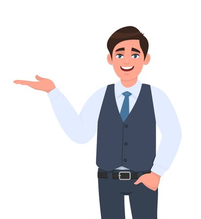 Young businessman presenting hand gesture to copy space. Person in formal waistcoat introducing something with hand in pocket. Male character design illustration. Modern lifestyle in vector cartoon. Stock Illustratie