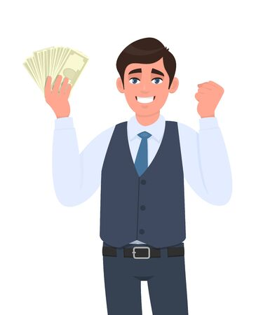 Young business man in waistcoat showing cash, money and gesturing raised arm fist sign. Trendy person holding currency notes. Stylish male character making success symbol. Cartoon in vector style. Stock Illustratie