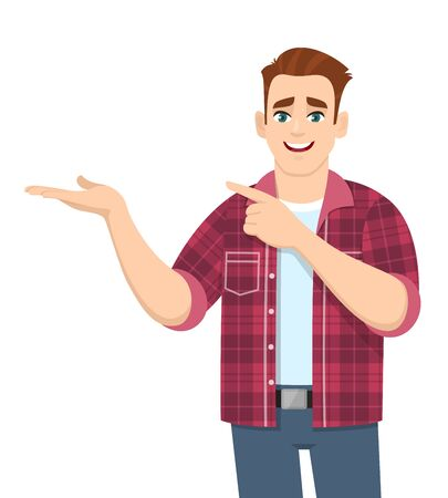 Handsome stylish young man showing hand and pointing finger to copy space. Smiling person in casual dress introducing something. Trendy male character illustration. Modern lifestyle in vector cartoon. Stock Illustratie