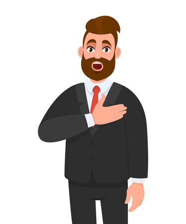 Shocked young business man having heart ache, holding hand on chest. Heart attack or stroke. Stressed person suffering chest pain. Healthcare, modern lifestyle illustration in vector cartoon style.