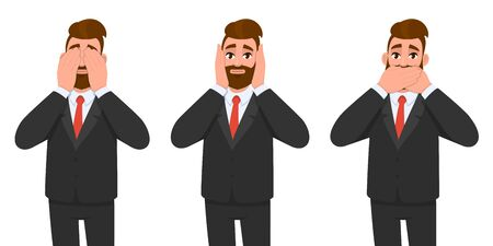 Young hipster businessman covering his ears mouth and eyes as looking like the three wise monkeys. Not see say, hear concept. Speak no evil, listen no evil, look no evil. Cartoon design in vector.
