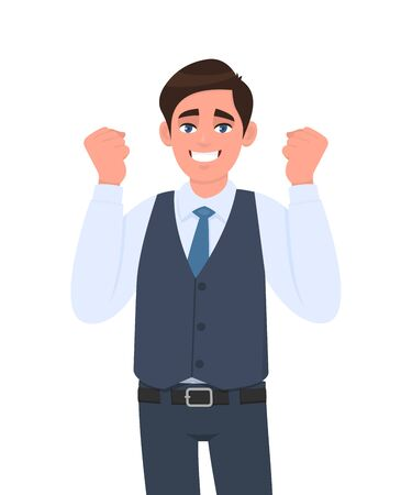 Happy young businessman celebrating success with raised hand fist. Trendy excited person showing winner gesture sign in waistcoat. Man expressing positive emotions illustration in vector cartoon.