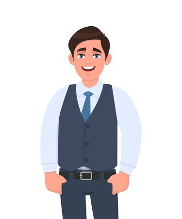 Portrait of young businessman standing with thumb fingers in the pockets. Person in formal  waistcoat. Male character design illustration. Human emotions, facial expressions concept in vector cartoon. Stock Illustratie