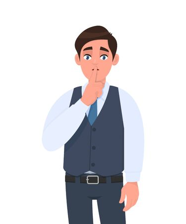 Young man in formal waistcoat asking silence. Sh! Keep quiet. Silence please! Male character design illustration. Human emotions, facial expressions, modern lifestyle, concept in vector cartoon.