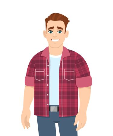 Cheerful stylish young man standing. Happy trendy person wearing casual fashion costume. Smiling male character design illustration isolated. Modern lifestyle concept in vector cartoon style. Stock Illustratie