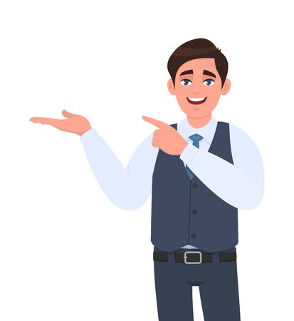 Young businessman presenting hand gesture to copy space and pointing  index finger. Person introducing something. Male character design illustration. Modern lifestyle, concept in vector cartoon style.
