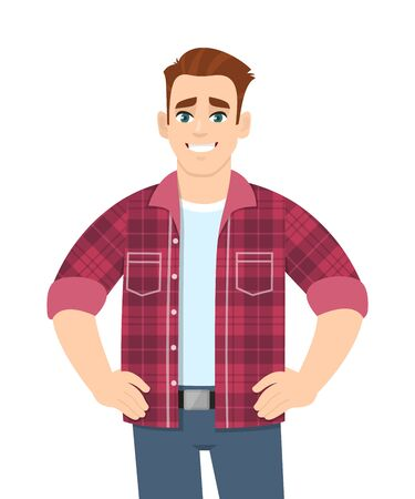 Happy young man standing and holding hands on hips. Stylish trendy person wearing casual fashion costume. Male character design illustration. Modern lifestyle concept in vector cartoon style. Stock Illustratie