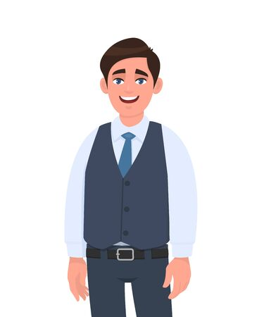 Portrait of happy young businessman in formal waistcoat standing against white background. Male character design illustration. Human emotions, facial expressions, feelings concept in vector cartoon.