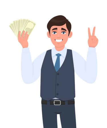 Young business man in waistcoat showing cash, currency notes and gesturing victory, peace,  two sign. Trendy person holding banknotes. Male character displaying money, dollar. Cartoon in vector style.