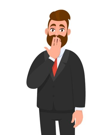 Shocked young businessman covering his mouth with hand. Scared trendy person keeping fingers on lips. Human emotions, facial expressions, feelings concept illustration in vector cartoon style.