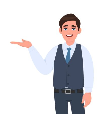 Young businessman presenting hand gesture to copy space. Person introducing something. Male character design illustration. Modern lifestyle, concept in vector cartoon style. Stock Illustratie