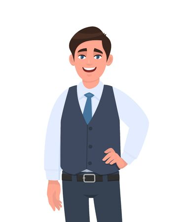 Portrait of young businessman standing and posing with hand on the hip. Person in formal  waistcoat. Male character design illustration. Human emotions, facial expressions concept in vector cartoon.