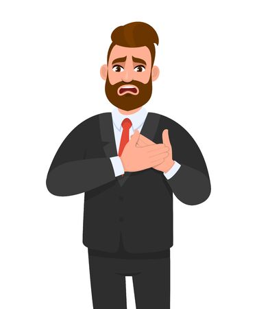 Trendy young business man having heart ache, holding hands on chest. Heart attack or stroke. Stressed person suffering chest pain. Healthcare, modern lifestyle illustration in vector cartoon style. Stock Illustratie