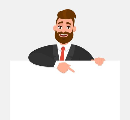 Young trendy businessman showing blank white poster and pointing finger. Happy hipster person holding empty banner. Male presenting signboard or billboard. Cartoon illustration in vector style.