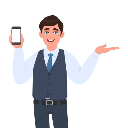 Trendy young businessman in vest suit showing blank mobile, cell phone and pointing to copy space. Person holding smartphone screen and presenting hand gesture. Modern lifestyle in vector cartoon.