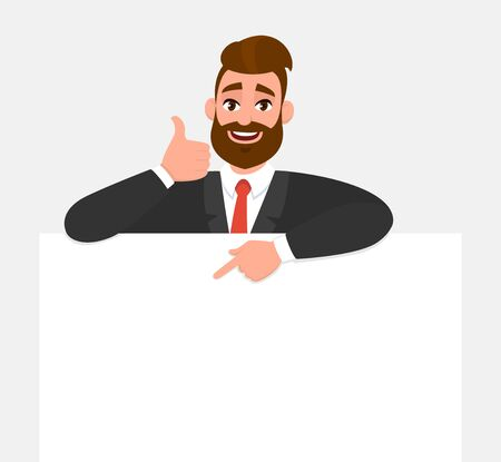 Trendy young business man showing blank poster, pointing finger and gesturing thumbs up sign. Hipster person holding empty banner. Male presenting signboardbillboard. Cartoon illustration in vector.
