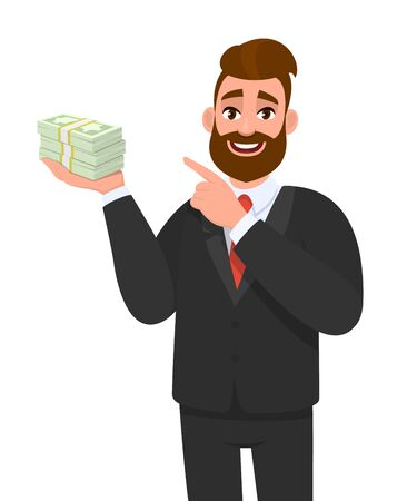 Young businessman holding cash, money or currency notes in hand and pointing finger. Trendy person showing bunch of banknotes or dollar. Male character illustration, financial in vector cartoon style.