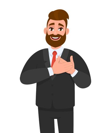 Stylish businessman smiling with hands on chest and grateful gesture. Trendy young hipster person has friendly expression & keeps hands on heart. Man expresses love, thankful feelings. Vector cartoon. Stock Illustratie