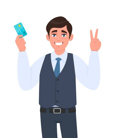 Young businessman showing credit, debit card. Man making or gesturing victory, V, peace or two sign. Trendy person in waistcoat holding ATM card. Stylish male character illustration in vector cartoon. Illustration