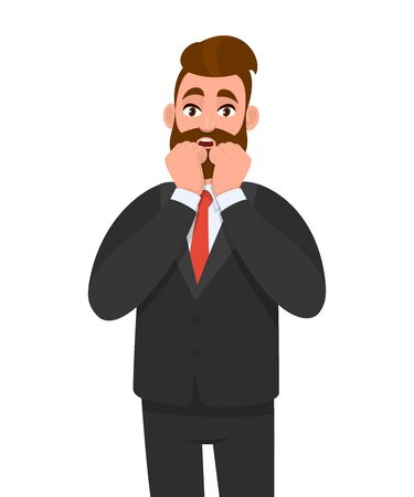 Shocked young business man keeping  hand on cheek. Scared person holding both hands on face. Male character design illustration. Human emotions and expressions concept in vector cartoon style.