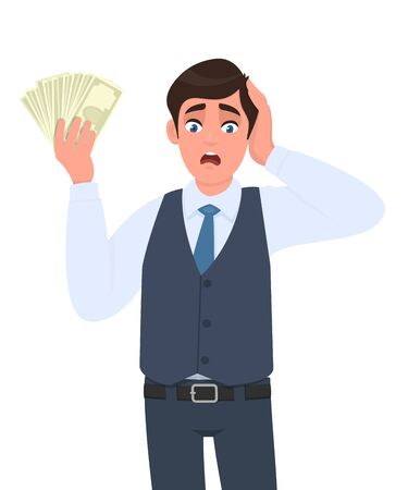 Shocked young businessman in waistcoat showing cash, money and holding hand on head. Scared person keeping currency notes. Male character design illustration. Modern lifestyle in vector cartoon style. Illustration