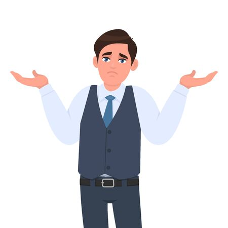 Oops! Sorry! I don't know! Confused young man in formal waistcoat shrugging shoulders and raised hands. Male character design illustration. Human emotion, face expression concept in vector cartoon.