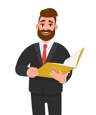 Modischer junger Geschäftsmann, der eine Datei hält. Stilvolle Person im schwarzen Anzug, die gelben Ordner oder Dokumente liest. Designillustration des männlichen Charakters. Business und modernes Lifestyle-Konzept im Vektor-Cartoon.