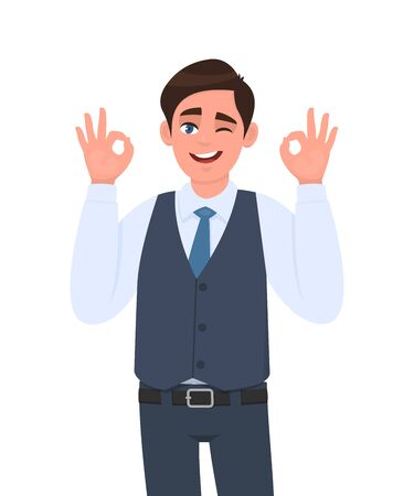 Young businessman in waistcoat showing okay or OK gesture and winking eye. Person making symbol of good or cool sign. Male character design illustration. Human emotions concept in vector cartoon. 免版税图像 - 141537654