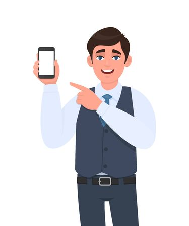 Stylish young businessman in vest suit showing blank mobile, cell phone and pointing finger. Trendy person holding smartphone screen. Digital technology, modern lifestyle concept in vector cartoon.