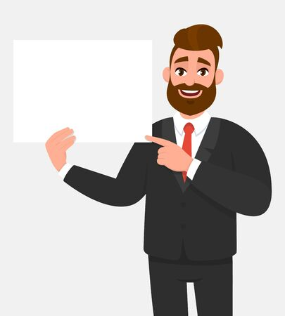 Hipster young businessman showing blank white poster and pointing finger. Happy trendy person holding empty banner. Male presenting signboard or billboard. Cartoon illustration in vector style.