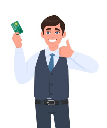 Happy young businessman showing credit, debit card. Man making or gesturing thumbs up sign. Successful person in waistcoat holding ATM card. Stylish male character illustration in vector cartoon. Vectores