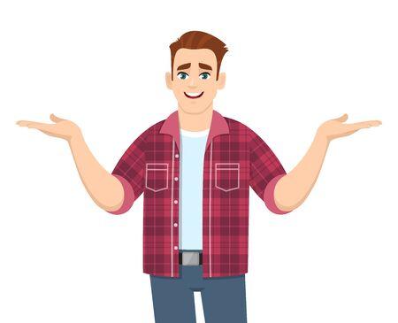 Jeune homme élégant montrant ou écartant les mains pour copier le côté espace. Personne souriante en tenue décontractée à la mode introduisant quelque chose. Illustration de personnage masculin. Mode de vie moderne en style cartoon vectoriel.