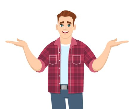 Stylish young man showing or spreading hands to copy space side. Smiling person in trendy casual dress introducing something. Male character illustration. Modern lifestyle in vector cartoon style. Illustration